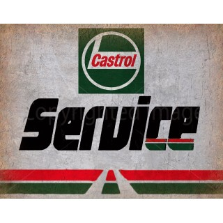 Castrol Service Motor Oil vintage garage  metal tin sign wall plaque