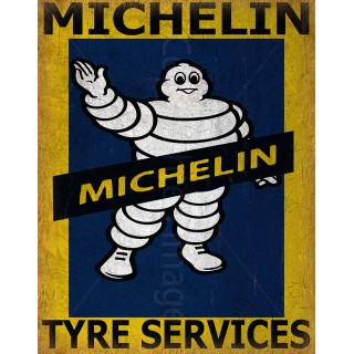 Michelin Tyres Services vintage garage metal tin sign wall plaque