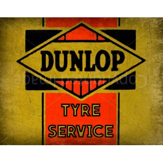 Dunlop Tyre Service  Vintage garage metal tin sign wall plaque