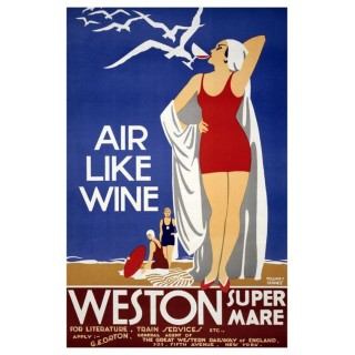 Weston-Super-Mare vintage travel metal tin sign poster plaque
