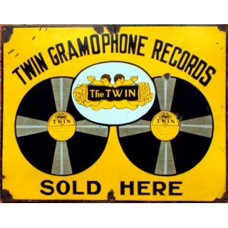Twin Gramophone Records vintage advertisement metal tin sign
