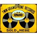 Twin Gramophone Records vintage advertisement metal tin sign