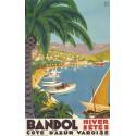 France La Cote d'Azur Bandol  vintage travel metal tin sign poster