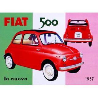 fiat-500-la-nuova-metal-tin-sign
