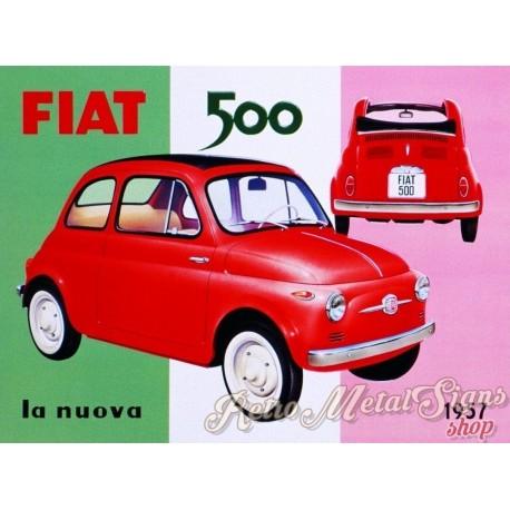 Fiat 500 La Nuova 1957 Vintage Garage Metal Tin Sign Wall Plaque