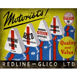 Redline-Glico vintage garage  metal tin sign wall plaque