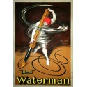 Ideal Waterman fountain pen vintage advertisement metal tin sign poster