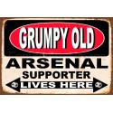 Grumpy Old Arsenal Supporter lives here football metal tin sign