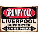 Grumpy Old Liverpool Supporter lives here football metal tin sign