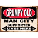 Grumpy Old Man City Supporter lives here football metal tin sign