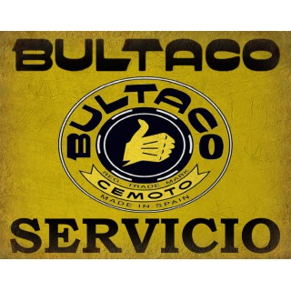 Bultaco Servicio Motorcycles Vintage garage metal tin sign