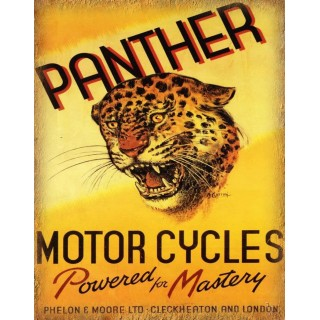 Panther Motor Cycles  Vintage garage workshop metal tin sign