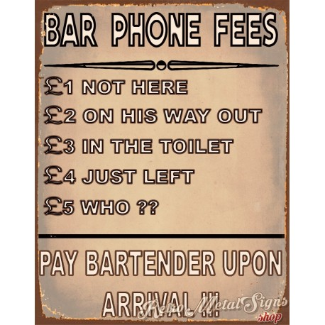 bar-phone-fees-funny-pub-bar-tin-sign