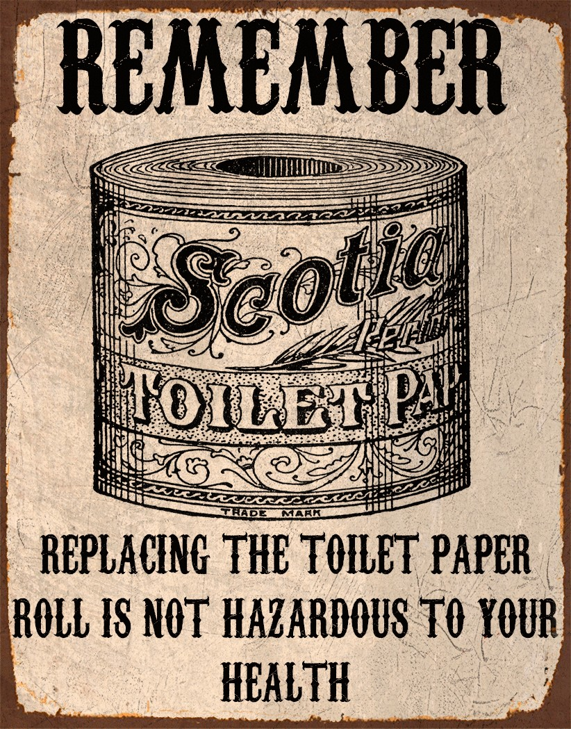 New Replacing the toilet paper metal tin sign poster wall plaque WO08