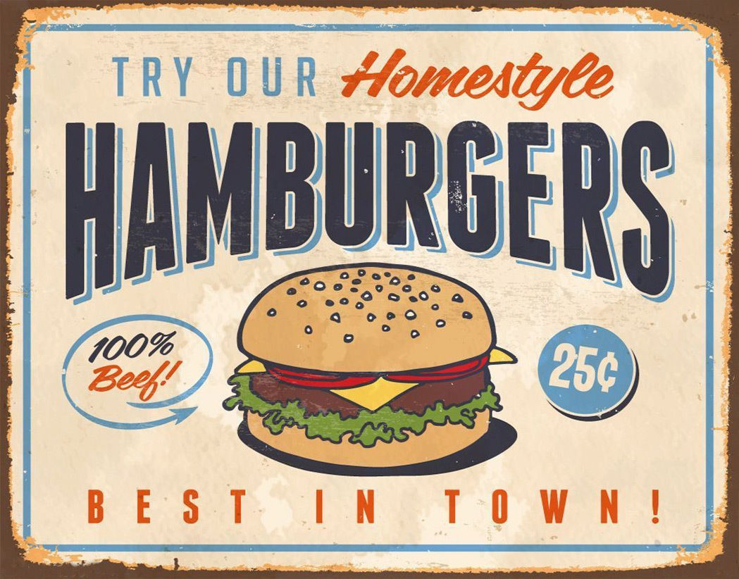 Tin Sign Nostalgic Fun Best Hamburger