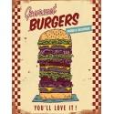 Gourmet Burgers vintage American food metal tin sign poster