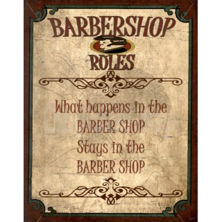 Barber Shop Rules vintage barber metal tin sign poster