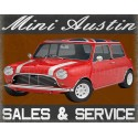 Austin Mini Sales Service vintage garage metal tin sign wall plaque