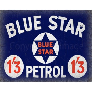 blue star petrol vintage metal tin sign wall plaque