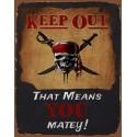 Keep Out Pirate funny nostalgic metal tin sign poster