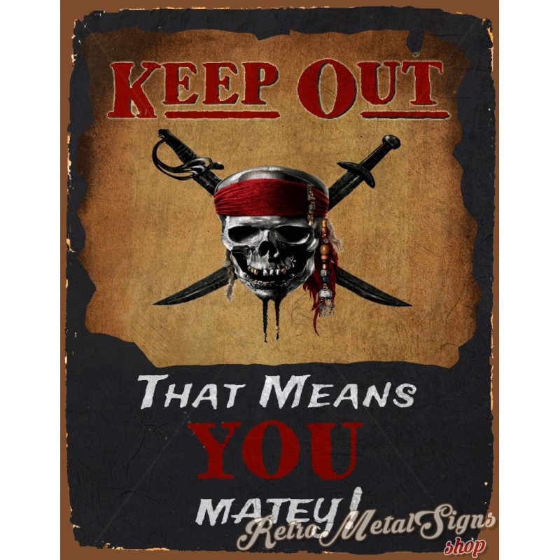 Keep Out Pirate Funny Pub Bar Tavern Metal Tin Sign Poster