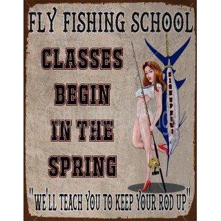 fly-fishing-school-pin-up-model-metal-tin-sign