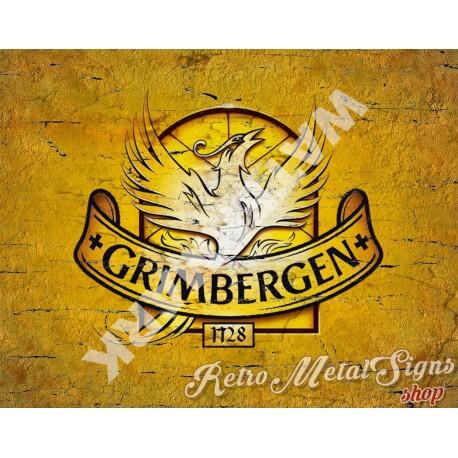 Grimbergen Belgian Beer vintage alcohol metal tin sign poster