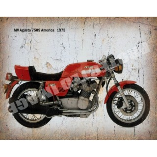 MV Agusta 750S 1975  vintage metal tin sign wall plaque