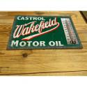 Castrol wakefield motor oil enamel ceramic thermometer sign