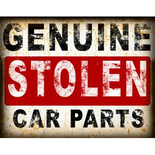 Genuine Stolen Car Parts vintage metal tin sign wall plaque