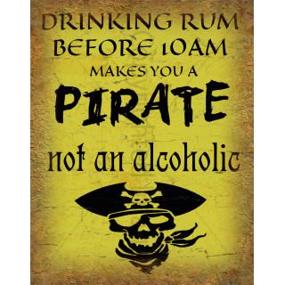Drinking Rum Pirate  funny nostalgic metal tin sign poster