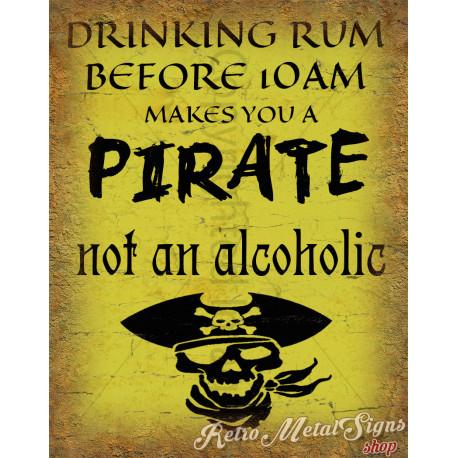 Drinking Rum Pirate pub bar tavern metal tin sign poster