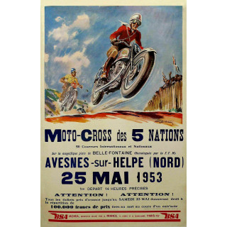 Vintage Moto Cross of 5 Nations vintage metal tin sign poster wall plaque