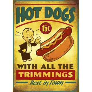 Hot Dogs vintage American food metal tin sign poster