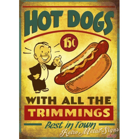 Hot Dogs vintage food metal tin sign poster