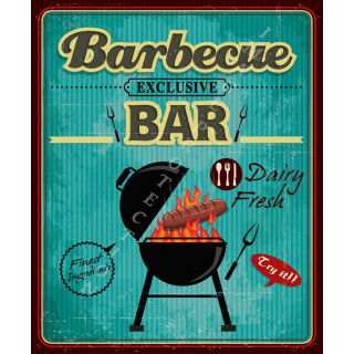 Barbecue Bar vintage food metal tin sign poster