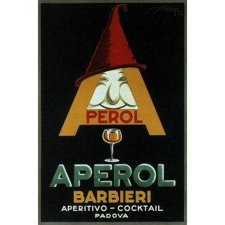 Perol Aperol Barbieri 1924 vintage alcohol metal tin sign poster