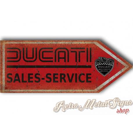 Ducati sales service arrow motorcycle vintage metal tin sign poster