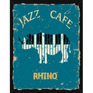 Jazz Cafe Rhino  metal tin sign poster wall plaque