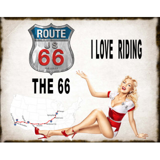 Historic Route 66  pin up vintage metal tin sign wall plaque