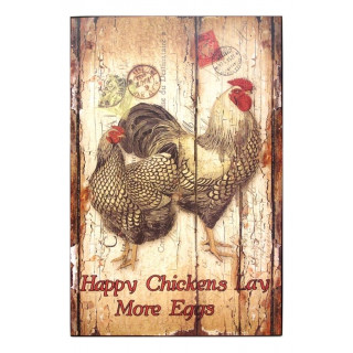 Happy chickens lay more eggs metal tin sign poster pub bar wall plaque