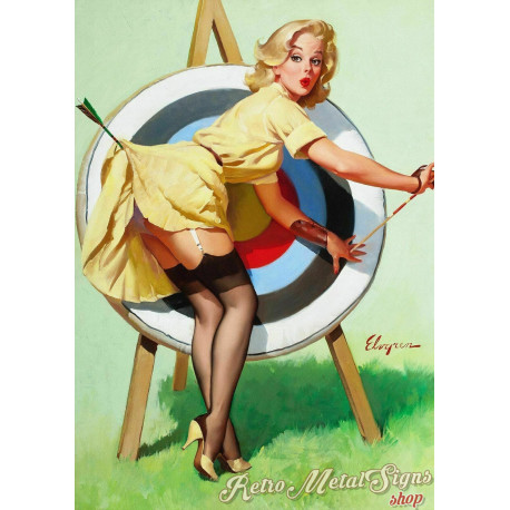 A Near Miss  Pin Up girl metal tin sign poster wall plaque
