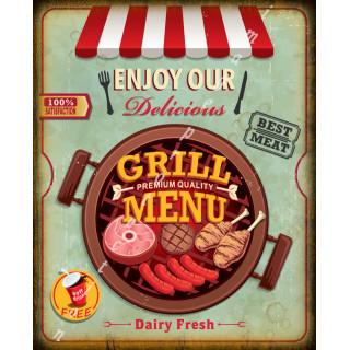 Grill Menu vintage food metal tin sign poster