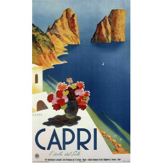 Capri 1952  vintage Italian travel metal tin sign poster