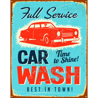 Full service car wash vintage garage metal tin sign wall plaque