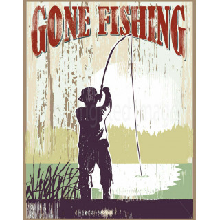 Gone Fishing  vintage style metal tin sign