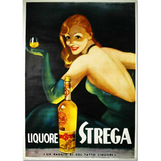 Liquore Strega vintage alcohol metal tin sign poster