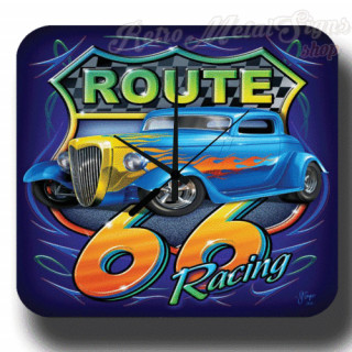 Route 66 racing garage metal tin sign wall clock