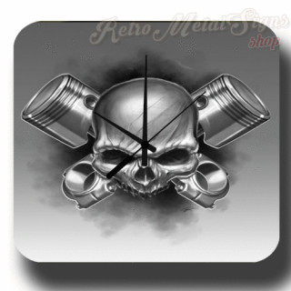 Piston Skull metal sign wall clock