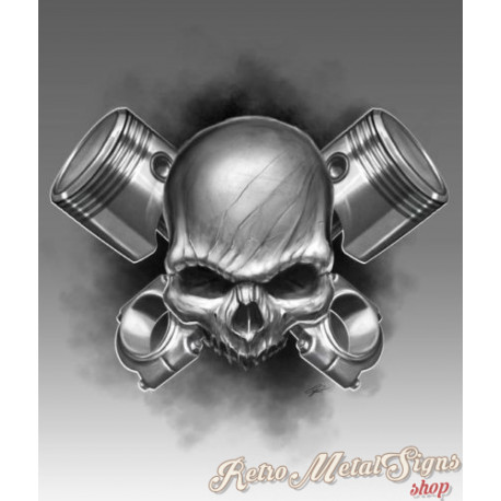 Piston Skull garage  metal tin sign wall plaque